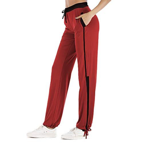Elastica Con Coulisse Casual Pantaloni Pantaloni S Tinta 3XL Tasca da Vita Donna Super Pantaloni Juleya Rosso Unita Soft Sportivi 0w6vwAqp