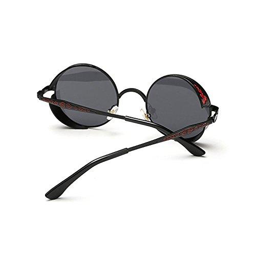Retro Round Vintage Femmes Steampunk de Lunette Frame Lunettes Hommes Sun glasses soleil Gothic Noir Gris Metal rrHdqB