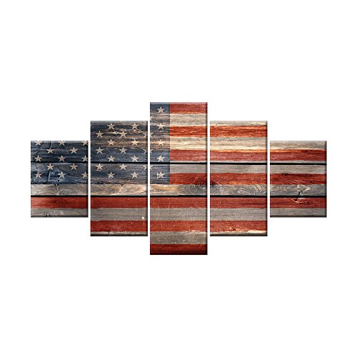 AMEMNY 5 Panels American Flag Canvas Painting Wall Art about Independence Day Prints on Canvas Modern Artwork Posters and Prints Framed Ready to Hang (70''W x 40''H, Artwork-08)