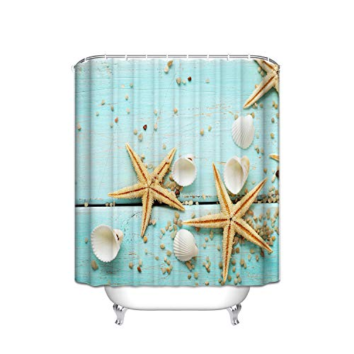 Giraffe Blue Flower Shower (FANNEE Rustic Wood Theme Mint Blue Shabby Wooden Planks Texture Starfish Shell Vertical Stripes Shower Curtain With Hooks (Treated To Resist Deterioration By Mildew) - 36 X 72 Inches)