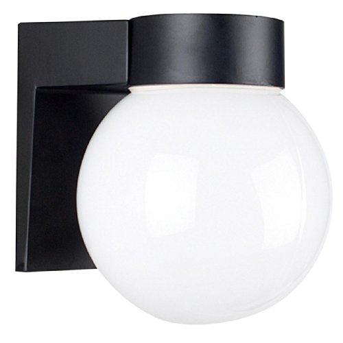 31 Black Outdoor Sconce (Sunset Lighting F4617-31 Outdoor Wall Sconce with Opal Glass, Black Finish)