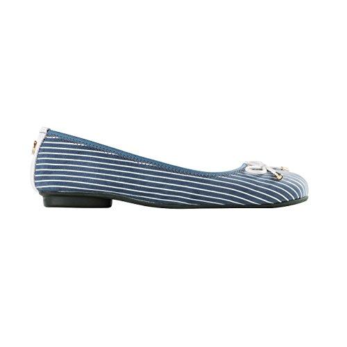 MORENA MORENA Damen Faltballerinas HAMILTON Mehrfarbig (Blau/Weiß)