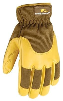 Wells Lamont 7661L Grips Gold Insulated Ultra Comfort Deerskin Work Gloves, Goldenrod, Large