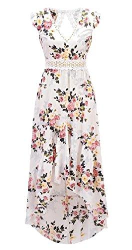 NestYu Women's Backless Printing Sleeveless Coattail Irregular Hollowed V-Neck Vest Dresses White (Vest With Coattails)