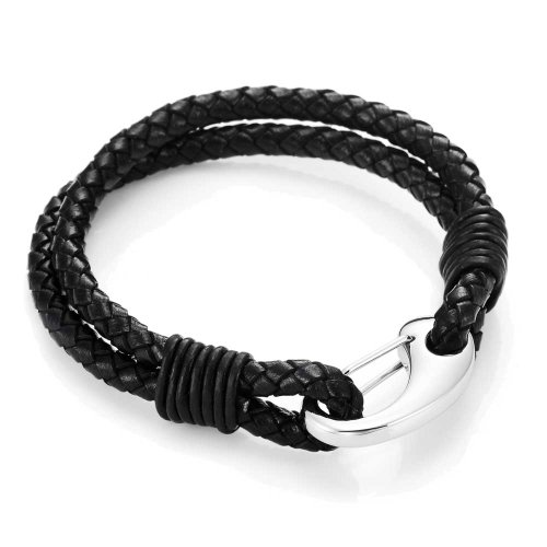 Braided Black Leather Bracelet (Urban Jewelry Braided Black Genuine Leather Bracelet with Locking Stainless Steel Clasp (Black, Silver, Length 8