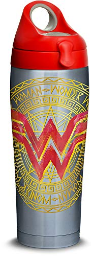 (Tervis 1315942 DC Comics - Wonder Woman Icon Stainless Steel Insulated Tumbler with Lid, 24 oz Water Bottle, Silver)