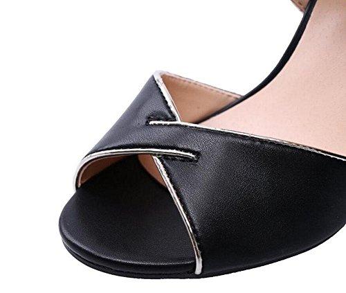 Toe Strap Zapatos Bloque de Mujeres cuero Sandalias Damas Peep Zapatos Sandalias liso Ankle Bombas alto pescados Corte Verano de Negro tacón de Bombas de GLTER cabeza de los Blanco black tacón Zapatos OExw1B4O