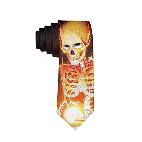 Men's Classical Skinny Halloween Neckties Tie - Scary Horror Fire Flaming Skull Skeleton, Casual & Formal Cosplay Dress Decor For Suit Uniform, Wedding Party Festival Smooth Polyester Ties