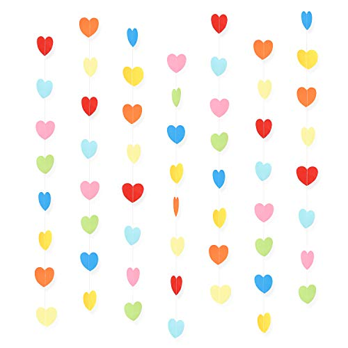 WXJ13 7 Pack Rainbow Color Birthday Paper Heart Decorations Heart Shape Garland Decorations, 41.3 Feet/13.7 Yards, Valentine's Day Wedding Party Decoration Supplies ()