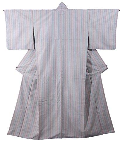 に渡って指令六分儀リサイクル 着物 紬 正絹 袷 縞模様 裄66.5cm 身丈165cm