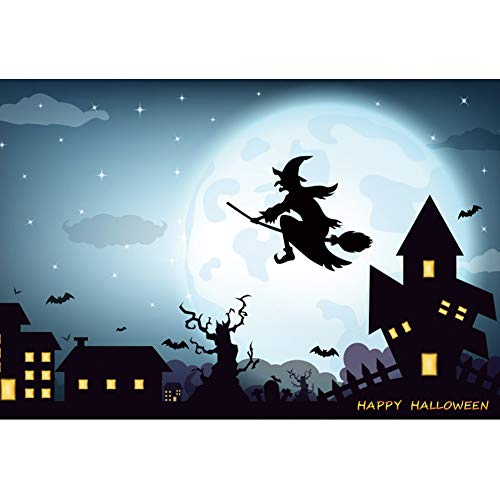 Leyiyi 8x6ft Happy Halloween Photography Backdrops Lignting House Flying Bat Witch Background for Photoshoot Studio Props]()