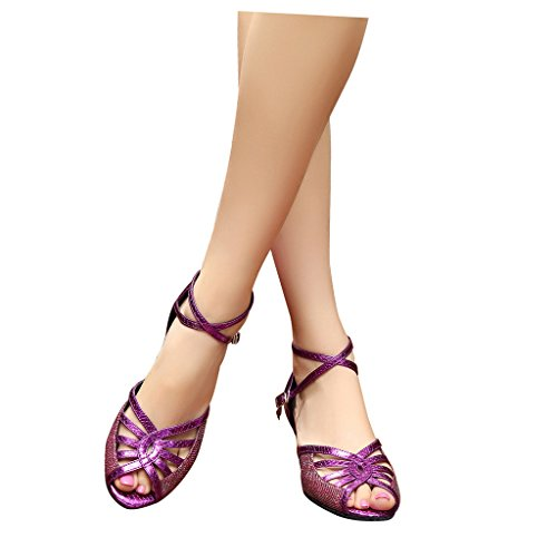Misu Women's Peep toe Sandals Latin Salsa Tango Practice Ballroom Dance Shoes with 3.3