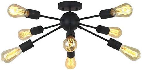 ArcoMead 8-Light Sputnik Chandelier Black Mid Century Modern Ceiling Light Industrial Pendant Lighting for Kitchen Dining Room Living Room