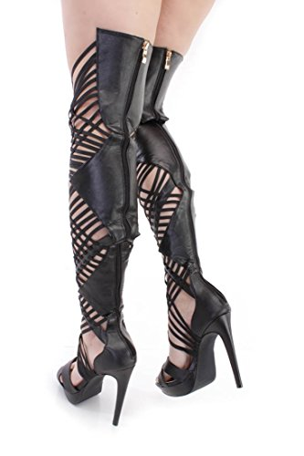 39ac9ea844f AMI Clubwear Black Strappy High Heel Thigh High Boots Faux Leather ...
