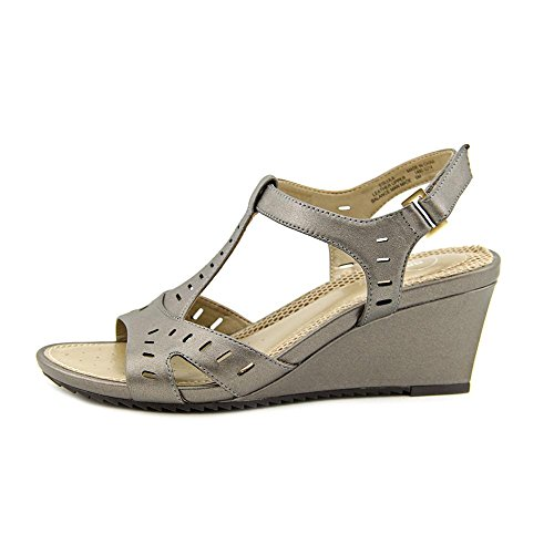Easy Spirit Womens Lula Leather Open Toe Casual Platform Sandals Pewter R00Q5T3nP
