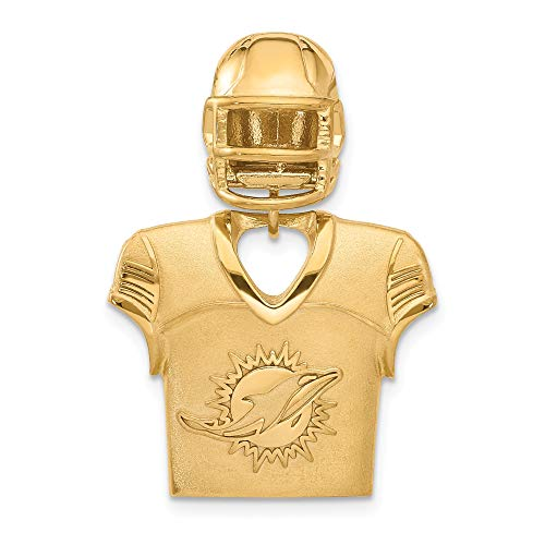 (Kira Riley Gold Plated Miami Dolphins Jersey & Helmet Pendant for Chains and)