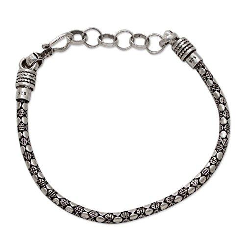 (NOVICA .925 Sterling Silver Men's Chain Bracelet, 8