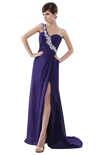 Emily One Shoulder offene Abendkleider Beauty Violett lange Chiffon BCxW8Cd7a
