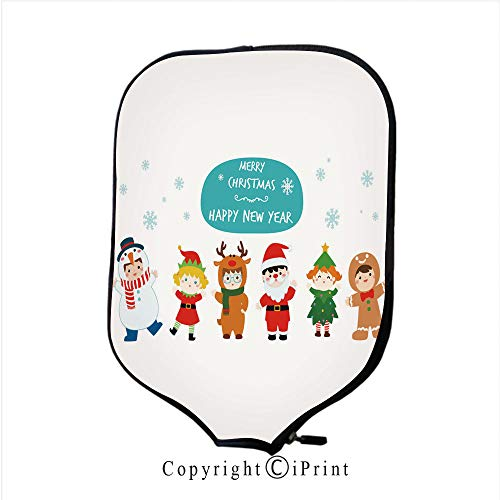 Neoprene Material,Durable Quality Paddle Cover,Cute Kids Wearing Christmas Costumes Vector (Size:8.23