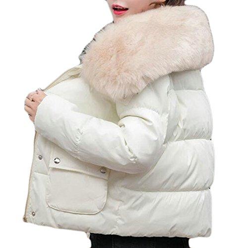 ouxiuli Women's Winter Faux Fur Collar Coat Parka Down Quilted Jacket Overcoat White L - Abercrombie Fur Jacket