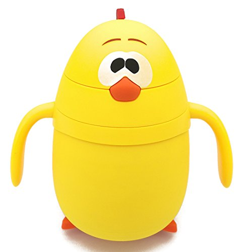 Water Bottle Thermos Flask Drinkware with Straw LEAK PROOF BPA FREE Cute Cartoon Yellow Chick for Kids (Cute Straw)