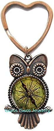 Old Compass Key Ring, Charming Compass Owl Keychain, Compass Owl Keychain, Compass Gift, Compass Jewelry, Art