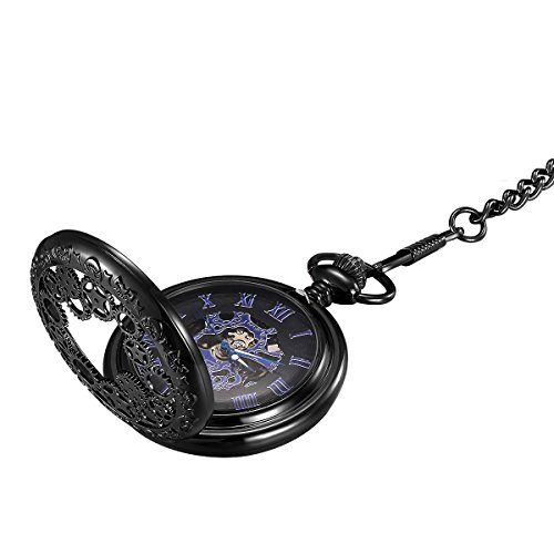 LYMFHCH Steampunk Blue Hands Scale Mechanical Skeleton Pocket Watch
