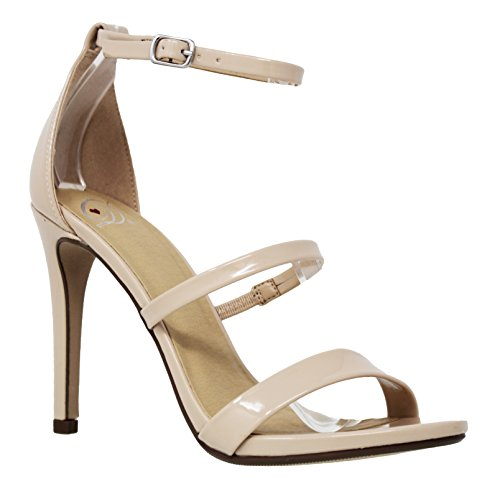 MVE Shoes Women's Open Toe Strappy Stiletto Sandal, Beige Pat Size 9 (Open Toe Strappy Sandal Lady)