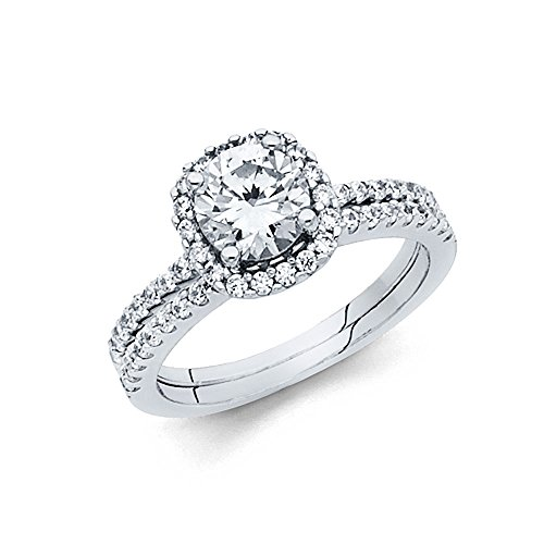 1.5mm 14K Engagement Ring Set in White Gold 1.5 ct Round Shaped Stone with Round Side Stones Size 4.5
