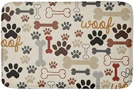 Dog Breeds Profile Bath Rug Non-Slip Floor Outdoor Indoor Front Door Mat 16x24/""