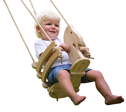 (Ecotribe Wooden Horse Toddler Swing Set - Smooth Birch Wood with Natural Finish & Cotton Ropes - Outdoor & Indoor Swing - Eco-Conscious Toddler Bucket Swing Chair, for Baby 6 Months to 3 Years)