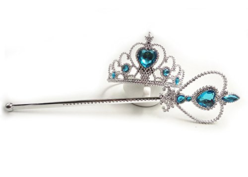 [YMING Princess Halloween Christmas Magic Wand and Crown Blue] (Princess Jasmine Costumes Tiara)