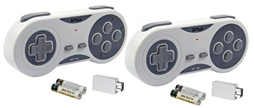 iMW Wireless Gaming Controller for NES | Super NES Classic Edition, Grey, 2-Pack - Super NES;