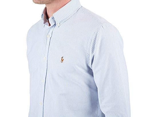 Polo Ralph Lauren Mens Classic Fit Oxford Longsleeve Buttondown Shirt (Blue White Stripe, X-Large)