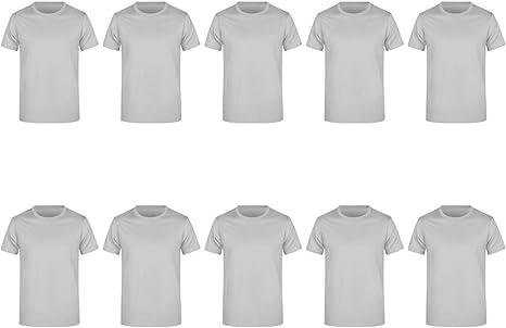 Guuja Pack de 10 Camisetas de Hombre para Impresión y Bordado Camisa básica hasta XXXXXL 5XL: Amazon.es: Ropa y accesorios