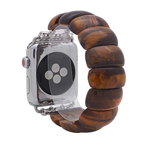 (KAI Top Compatible Apple Watch Band Series 3/2/1 38mm 42mm, Unique Handmade Beaded Elastic Stretch Semi-Precious Bracelet Strap Women Girls (Tiger Eye, 38mm))