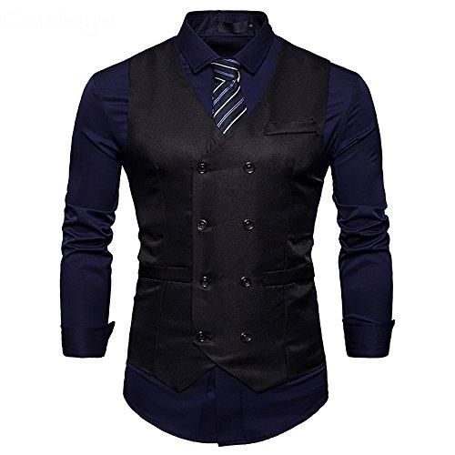 Cloudstyle Mens Vest Double Breasted V-Neck Slim Fit Formal Dress Vest Business Waistcoat Black