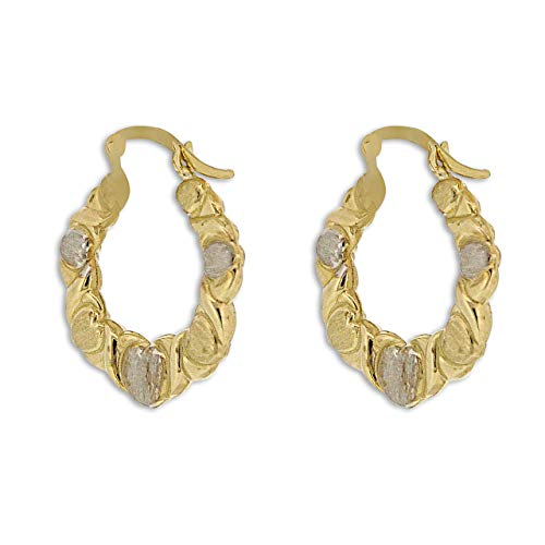 10K Two Toned Gold Hugs And Kisses Hoop Earrings ()