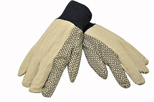 G & F 7488 Men's Size Cotton Canvas Work Gloves Coated with PVC Dots on Palm and Index Finger, 12 oz