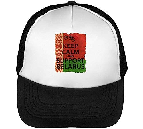 Vintage Keep Calm Support Belarus Gorras Hombre Snapback Beisbol Negro Blanco