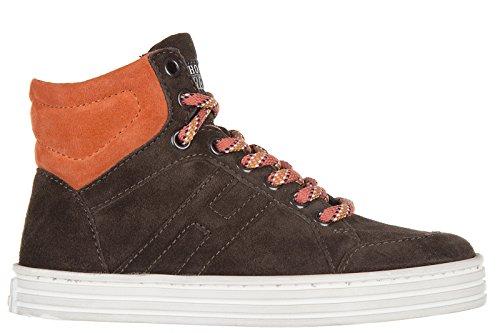 Hogan Rebel scarpe sneakers bimbo bambino lte camoscio nuove r141 basket Braun