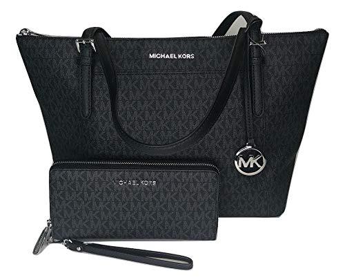 MICHAEL Michael Kors Ciara Large East West TZ Tote bundled with Jet Set Travel Continental Wallet (Signature MK Black)