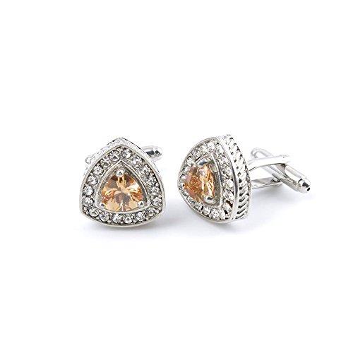 10 Pairs Men Boy Jewelry Cufflinks Cuff Links Party Favors Gift Wedding GY020 Yellow Crystal Zircon by YAOLIHONG JEWELRY