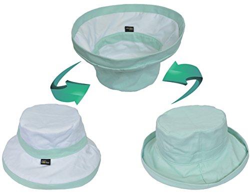 Women's Sun Hat Reversible Bucket Cap UPF 50+ Outdoor Travel Beach Hat Green by Sun Blocker (Image #1)