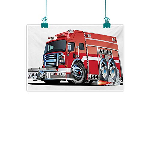 Warm Family Cars Wall Art Decor Poster Painting Big Fire Truck with Emergency Equipments Universal Safety Rescue Team Engine Cartoon Decorations Home Decor 28