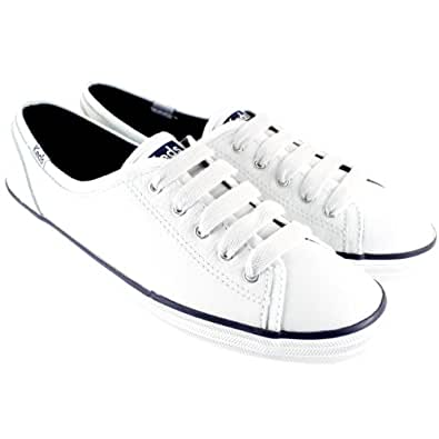 Womens Keds Champion Leather Lace Up Trainers Low Profile Shoes - White - 10.5