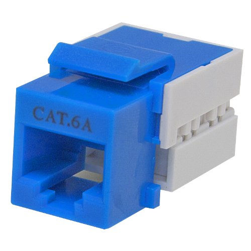 Cat6a Keystone Jack, Blue, RJ45 Female to 110 Punch Down - Inline UTP Lan Modular Patch Stand Punch Down Panel (Mount Flush Faceplate Modular)
