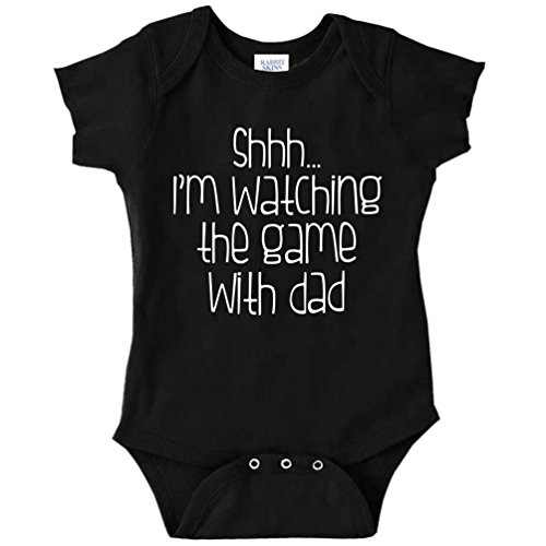 Shhh. I'm Watching The Game with Dad Funny Baby Bodysuit Infant (Black, Newborn)