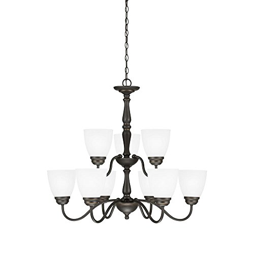 Sea Gull Lighting 3112409-191 Northbrook - Nine Light Chandelier, Roman Bronze Finish with Satin Etched - Transitional 9 Bronze Light