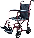 Aluminum Transport Chair Lightweight Wheelchair, 19'' (Burgundy)